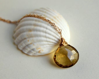 AAA luxe champagne quartz wire wrapped briolette pendant necklace sterling silver or gold filled