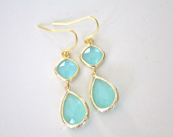Gold Earrings, Aqua Earrings Mint Wedding Bridesmaids Earrings Mint Earrings Bridesmaid Gifts Best Friend Gift Birthday Gift Gifts for Her