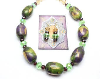 Mardi Gras Necklace and Earrings Set, Mardi Gras Colors, Chunky Necklace