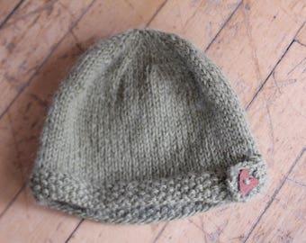 Toddler size handknit wool hat