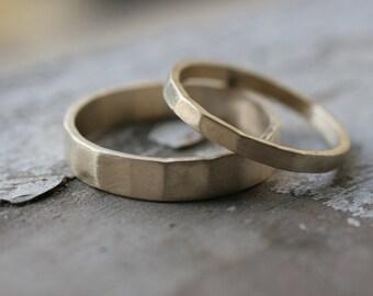 Hammered 14k Gold Matching Wedding Bands