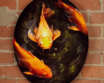 """Koi - Photograph/Illustration of Koi fish in a pond Infused onto a 20"""" High Gloss Metal Oval"""