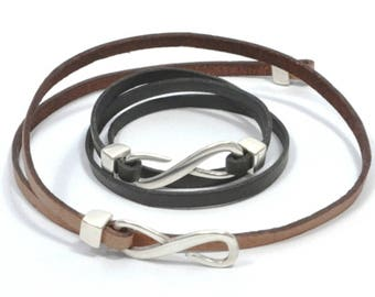 Mothers Day Gift triple wrap infinity leather bracelet, men women infinity bracelet, infinity jewelry, leather engraved bracelet, infinity c