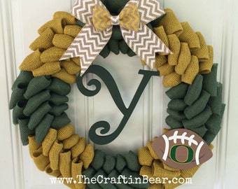 University of Oregon burlap wreath - Oregon wreath - Oregon Ducks wreath - Oregon Ducks - Ducks