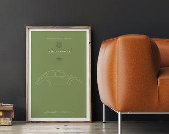 VW Beetle Poster, VW Beetle print, Car poster print, Volkswagen print, Volkswagen Beetle, Beetle poster, Minimalist car poster