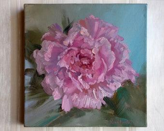 Peony oil painting Pink peony flowers Oil painting picture Home decor painting picture Pink green painting Oil original painting Gift ART
