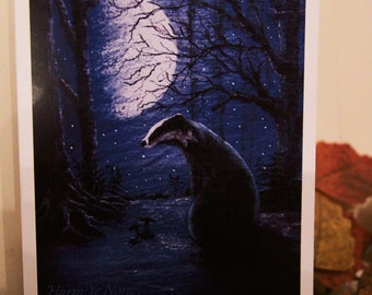 Moonlight Badger (Harm Ye None) Greeting Card