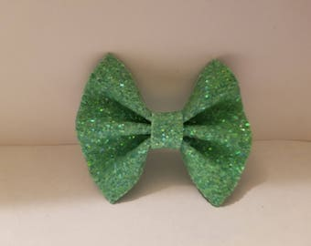 Lime Green Faux Leather Hair Bow