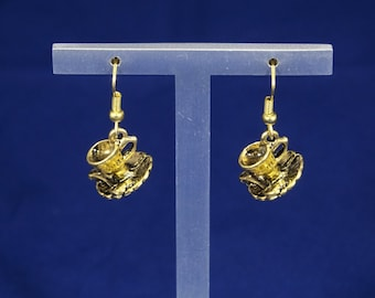 Gold Cup & Saucer Earrings
