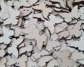 25 x Wooden Mini Butterflies Shapes Blank Embellishments Craft