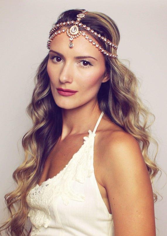 Dulce Head Chain Gold Head Jewelry Bridal Head Band Head Piece