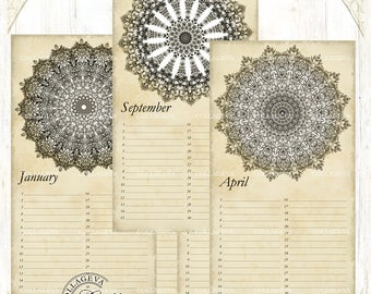 Vintage Mandalas Printable Perpetual Birthday Calendar, Anniversary Calendar, Eternal Planner, JPEG Editable PDF Kaleidoscope Grunge (C016-b