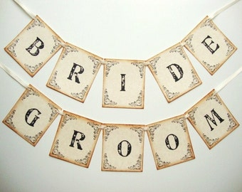 Wedding Bride and Groom Chair Banners Garlands Signs