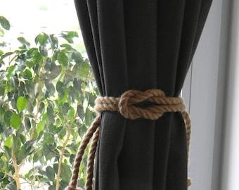 Square Knot Nautical Curtain Tie-Backs - Beach Decor - Jute Rope Curtain Tiebacks