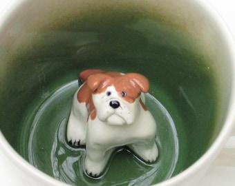 Bulldog with paw prints Surprise Mug