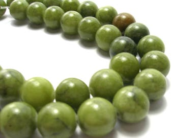 Green Serpentine Round Bead Strand (10mm) - Gemstones