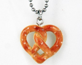 Heart Pretzel Necklace - Fake Food Jewelry - Salted - Polymer Clay - Miniature Food