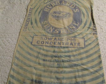 Vintage Rare Feed Sack Pig Feed Primitive Farmhouse