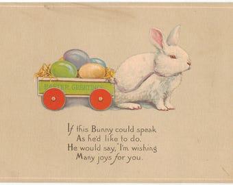 Vintage Easter Postcard, Bunny Pulling Easter Egg Cart, ca 1910