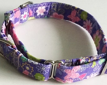 Purple and Pink  Floral Martingale Collar for Girl Dogs