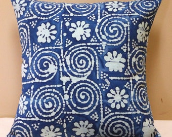 """Cushion Cover, 16"""" Square Cushion Cover, Pillow Cover, Throw Pillow Cover, Outdoor Cushion Cover, Batik Style Design, Outdoor Decor"""