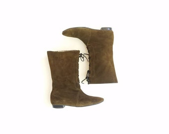 Vintage Womens 8 Buskens Winter Boots Tall Riding Boots Green Suede Leather Pull On Boots Boot Unique Boho Biker Moto Hipster Fashion