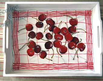 Cherry tray on cloth painted trompe l'oeil Decoration kitchen gift for a unique housewarming