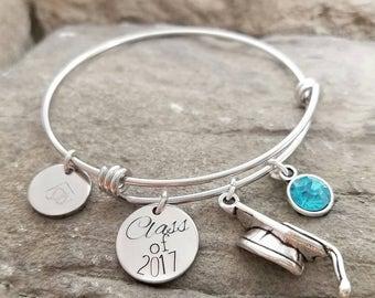 Graduation Gift - Graduation Bracelet - Graduation Charm Bracelet - Class of 2017 Gift - College Graduation Jewelry - Graduation Present