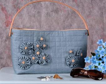 Linen & Leather Handbag Tote