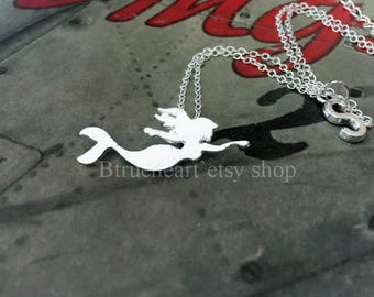 Mermaid Necklace silver mermaid Necklace kids Necklace Gift idea Christmas present Holiday gift initial necklace