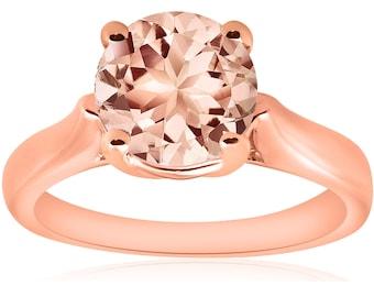 Morganite Rose Gold Ring, Solitaire 14k Rose Gold Morganite 8MM Round Engagement Ring