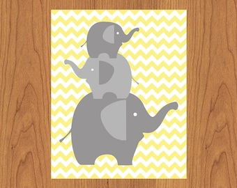 Family of Grey Elephants Nursery Wall Art Decor Grey Gray Yellow Chevron Room Decor Gender Neutral Elephant Family 8x10  (4-2)