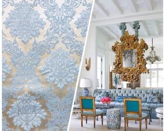 Designer Brocade Satin Damask Fabric - Powder Blue- Drapery & Upholstery-Sold By The Yard