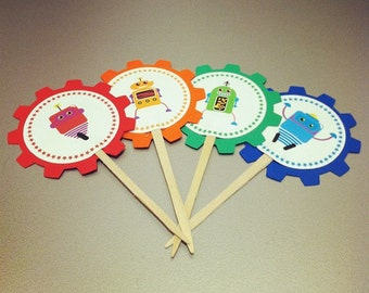 12 Robot Cupcake Toppers - food picks - Birthdays, Baby Showers