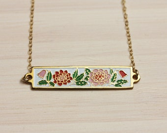 Flower Bar Necklace, Enamel Bar Necklace, Pink Flower Bar Necklace, Vintage Flower Necklace, Gold Bar Necklace