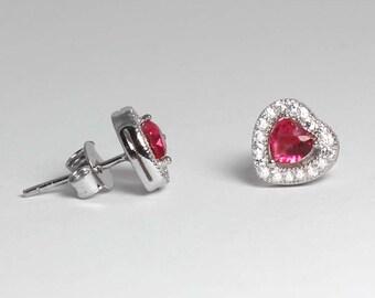 Ruby Earrings Sterling Silver / Ruby Earrings Silver / Ruby Stud Earrrings / July Birthstone