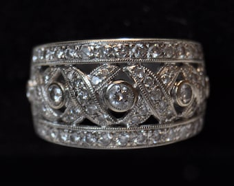 Solid 18KT White Gold and Diamond Vintage Statement Ring