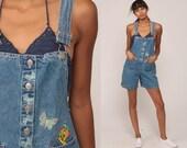 Denim Overall Shorts Jean Shortalls LOONEY TUNES Tweety Bird Romper 90s Grunge Jean Suspender Blue Bib Woman 1990s Vintage Extra Small xs