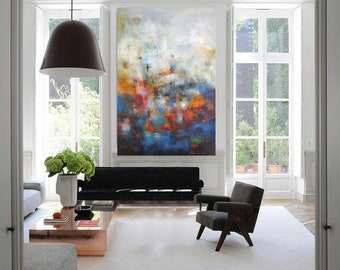 "XL Abstract painting Modern giclee canvas print wall art, 30""x40"" red turquoise navy painting, calming art, large blue pink canvas wall art"
