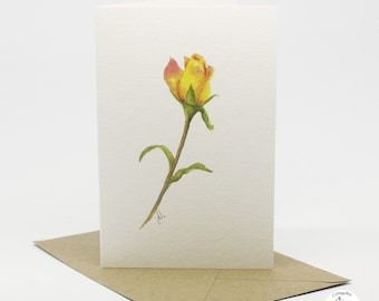 Watercolour Rose Botanical Greeting Card Hand Designed By CottageRts