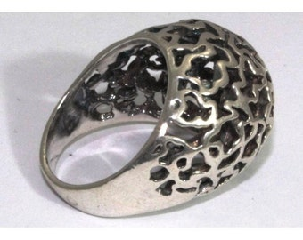 Silver ring filigree Ring hand made ring, big ring, gift for her