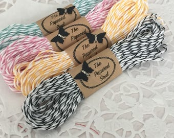 Black Baker's Twine 10 Yards of Black and White Striped Baker's Twine Divine Twine Made in the USA - 4 - Ply Quality Crafting Twine Licorice