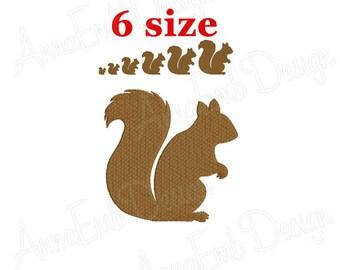 Squirrel Embroidery design. Squirrel Silhouette. Squirrel mini Embroidery. Squirrel design. Farm Embroidery. Machine Embroidery Design.