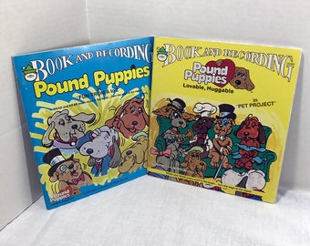 Pound Puppies Book and Record Set of 2 - Pet Project / Fun From A to Z - 1985 Peter Pan Records VG+