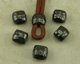 Barrel Crimp Spacer Beads 4x2mm ID Hammertone Hammered Small TierraCast Qty 6  * Black Ox Plated Lead Free Pewter NP
