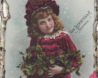 Christmas Girl In Red - Van Leckwyck and Co. Coffee Antique Trade Card