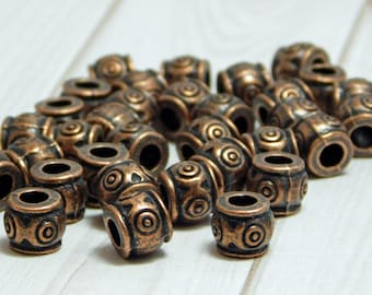 7x6mm - Metal Beads - Large Hole Beads - Barrel Beads - Spacer Beads - Copper Beads - Pewter Beads - 15pcs - (B720)