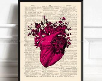 Anatomy Heart Print, Distance Boy Gift, Anatomy Poster, Girlfriend Gift Art, Lesbian Couple, 10 Anniversary Gift, Anatomical Print, PINK 057
