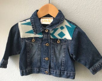 Kids Denim Vintage Native American Jean Jacket with Oregon wool fabric appliques - Size 12 mo Kids Denim Jacket-Kids Tribal Denim Jacket