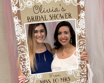 Wedding Photo Prop - Bridal Shower Photo Prop - Burlap and Lace Photo Prop - DIGITAL FILE - Baby Shower Photo Prop Printed Option Available